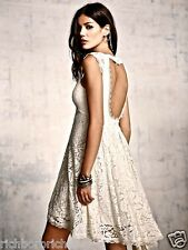 NEW Free People ivory Lace Babydoll Swing Dress open back hi lo hem 10