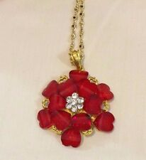 Red Crystal Rhinestone Gold  Necklace