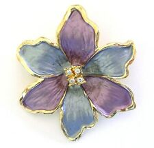 Flower Brooch Clear Crystal Gold Plated Blue Purple Enamel Pin Mothers Day Gift