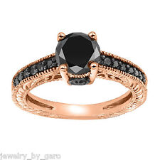 ENHANCED FANCY BLACK DIAMOND ENGAGEMENT RING 1.35 CT 14K ROSE GOLD ANTIQUE STYLE