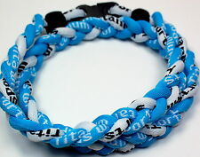 "NEW! BASEBALL Titanium TORNADO Sports Necklace 20"" Light Blue White Aqua 3 ROPE"