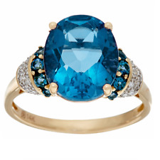 COLOR CHANGE FLUORITE 5.20CT & LONDON BLUE TOPAZ 14K YELLOW GOLD RING SIZE 9 QVC