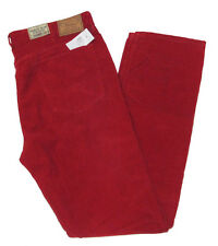 Polo Ralph Lauren Mens Varick Slim Straight Red Orange Corduroy Jeans Pants New