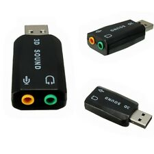 USB2.0 3D Soundkarte Sound card Audio 5.1 Kanal Konverter Adapter Schwarz  Mic