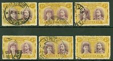 Rhodesia 1910-13 3d values x6. Fine to very fine used. Min CAT £390