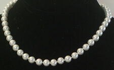 8MM Bright White South Sea Shell Pearl Necklace NEW (silk gift bag) A01
