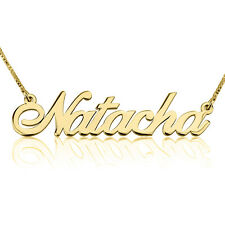 Gold Script Name Necklace 24k Gold Plated Personalized Customized Nameplate