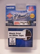 "Genuine Brother P-Touch TZ Tape Black Print on White Tape 1"" 24mm TZ-251 NEW"