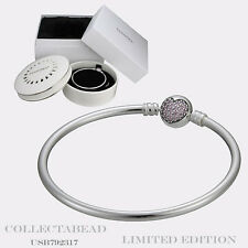"""Authentic Pandora Silver 8.3"""" Circle of Love Bangle with Porcelain Box USB792321"""