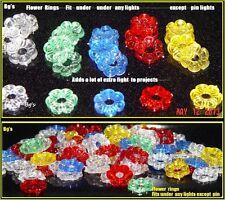 40 Ceramic Christmas tree light flower petal nest rings bulbs vintage peg twist