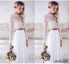 Two Piece Long Sleeve White Bohemian Wedding Dress Lace Bridal Gowns Custom Size
