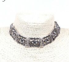 BOHO ON TREND ANTIQUE SILVER TONE RHINESTONES STATEMENT METAL CHOKER UK SELLER