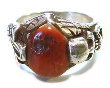 TAXCO Mexico .925 Sterling Silver Unique Real Coral Ring Size 10.5