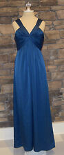 BCBG Max Azria Long Full Length Blue Sleeveless Formal Gown Dress Sz 8 Worn Once