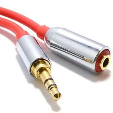 1m Meter PRO METAL RED 3.5mm Stereo Jack Headphone Extension Cable iPod MP3 Lead