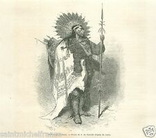 Portrait Costume Indian Curley Indien Crow Ashishishe USA GRAVURE OLD PRINT 1869