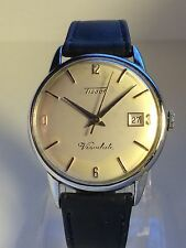 Vintage Tissot Visodate Steel Mechanical Men's Watch on Leather Strap