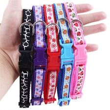 Pet Colorful Floral Printed Nylon Puppy Adjustable Dog Collar Collars