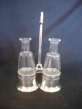 Old Vtg Sterling Silver Glass Oil And Vinegar Dispenser Set 2 Piece Tabletop