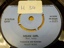"PYE 7N.45229 1973 UK 45rpm 7"" STATUS QUO ""MEAN GIRL"" EX-"