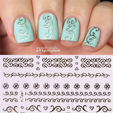6pcs 3D Nail Art Transfer Stickers Silver Embossed Texture Lace Decals Tips