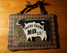 DAIRY FRESH MILK Country Primitive Style Cow Farm Rustic Home Decor Sign NEW