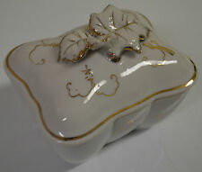 Trinket Box Dish Vintage Lipper & Mann (L&M) Bond Ware Ceramic white gold #www