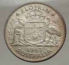 1943 AUSTRALIA - FLORIN Large SILVER Coin King George VI Coat-of-Arms i57109
