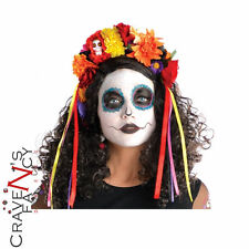 Adult Day of the Dead Deluxe Sugar Skull Headband Halloween Fancy Dress Costume
