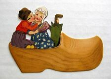 Vintage Bridge Tally Place Card Dutch Boy Kissing Girl in Wooden Shoe