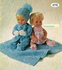 "Dolls clothes knitting pattern for 12-14-16"" doll. Laminated copy. (V Doll 33)"