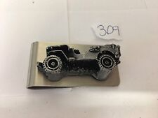 Willys Jeep ref309 pewter effect car emblem on a stunning Money Clip
