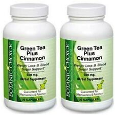 2  BOTTLE GREEN TEA PLUS CINNAMON WEIGHT LOSS SUPPORT 500mg 60 CAPSULES