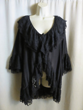 Lady Noiz Lace Jacket Black Lagenlook Ruffled Asymmetrical L Oversized