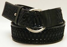 WOMEN EXPRESS O RING BLACK BRAIDED WOVEN PUNCHED WIDE LEATHER BELT size MEDIUM