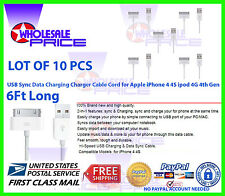 10X 6FT USB Sync Data Charging Cable Cord LOT For Apple iPhone 4 4S ipod 4G 4th