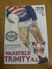 24/03/1991 Rugby League Programme: Wakefield Trinity v Bradford Northern  . Cond