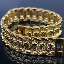 13mm Wide 24K Yellow Gold Filled Carved Design Watch Chain Mens Bracelet
