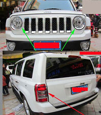 Chrome Head Front Tail Rear Light Cover trim Eyebrow for 2010-2015 Jeep Patriot
