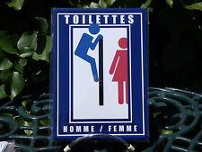 PLAQUE METAL RUE DECORATION 15x21cm TOILETTES homme femme humour wc salle bain