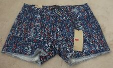 Levi's Cut Off's Jean Shorts Sz 8 Blue Red Zigzag Stretch Low Rise NWT