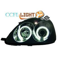 Pair headlights LHD TUNING TOYOTA YARIS 99-02 black, with rings angel ey