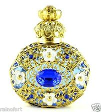 Perfume Bottle Gold Tone Filigree Vintage Dark Blue Faceted Crystal Collectible