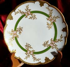 1890s Antique AK Limoges France Hand Painted Scalloped Gold Gilt Plate Mint #2