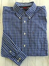 Men's Tommy Hilfiger Long Sleeve Button Shirt Blue And White Plaid Size Medium