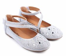 Silver Cute Glitter Kids Blink Blink Sneakers Girls Flats Youth Shoes Size 11