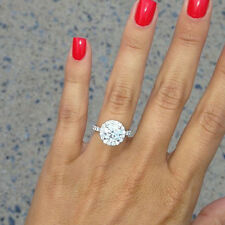 2.70 Ct. Natural Round Cut Halo Pave Diamond Engagement Ring - GIA Certified
