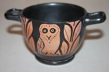 QUALITY ANCIENT GREEK RED FIGURE  POTTERY OWL SKYPHOS 4th CENTURY BC WINE CUP