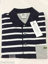 Lacoste Men's Polo Shirt Brand NWT Navy Blue White Silver Size EU 6 US L