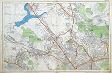 LONDON - HENDON, HAMPSTEAD, CRICKLEWOOD, WILLESDEN - Antique Map - Bacon, 1912.